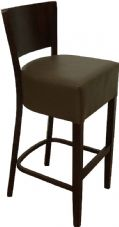 Burbank Wooden High Stool with Upholstered Seat & Back in Dark Walnut & Brown
